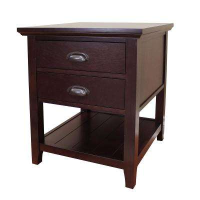 Lindendale 2-Drawer Espresso End Table