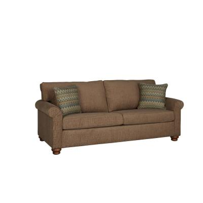 Aubrey 89.8 in. Mocha Polyester 2-Seater English Rolled Arm Sofa with Round Arms