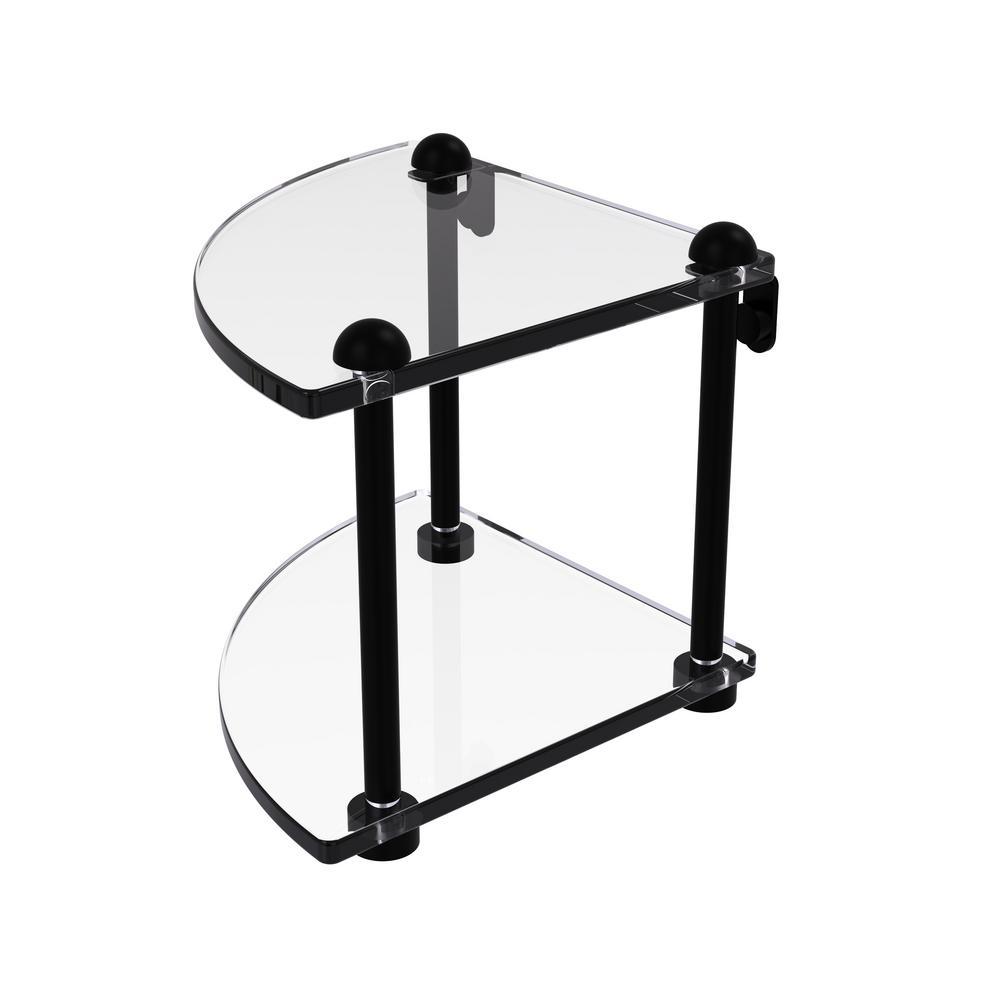 8 in. 2-Tier Corner Glass Shelf in Matte Black