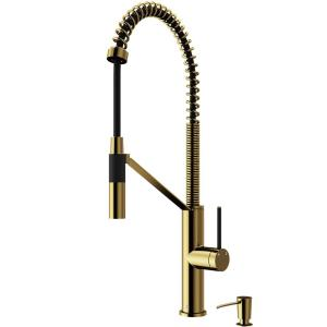 Livingston Single-Handle Pull-Down Sprayer Kitchen Faucet with Soap Dispenser in Matte Gold