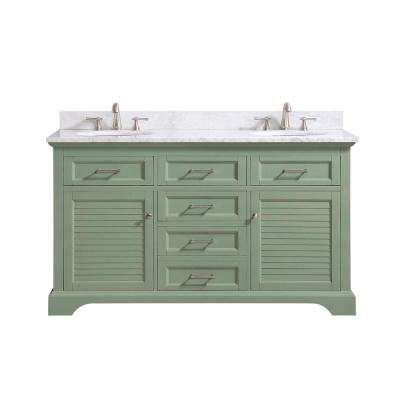 Colton 61 in. W x 22 in. D x 35 in. H Bath Vanity in Basil Green with Marble Vanity Top in Carrara White with Basins