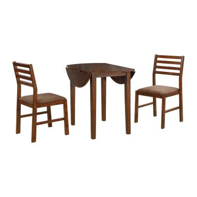 Nathaniel Home 3-Piece Solid Oak Wood Round Dining Set with Brown Color Seats