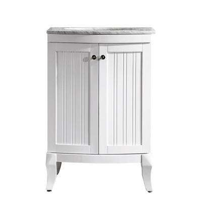 Verona 24 in. W x 23 in. D x 35 in. H Vanity in White with Marble Vanity Top in White with Basin