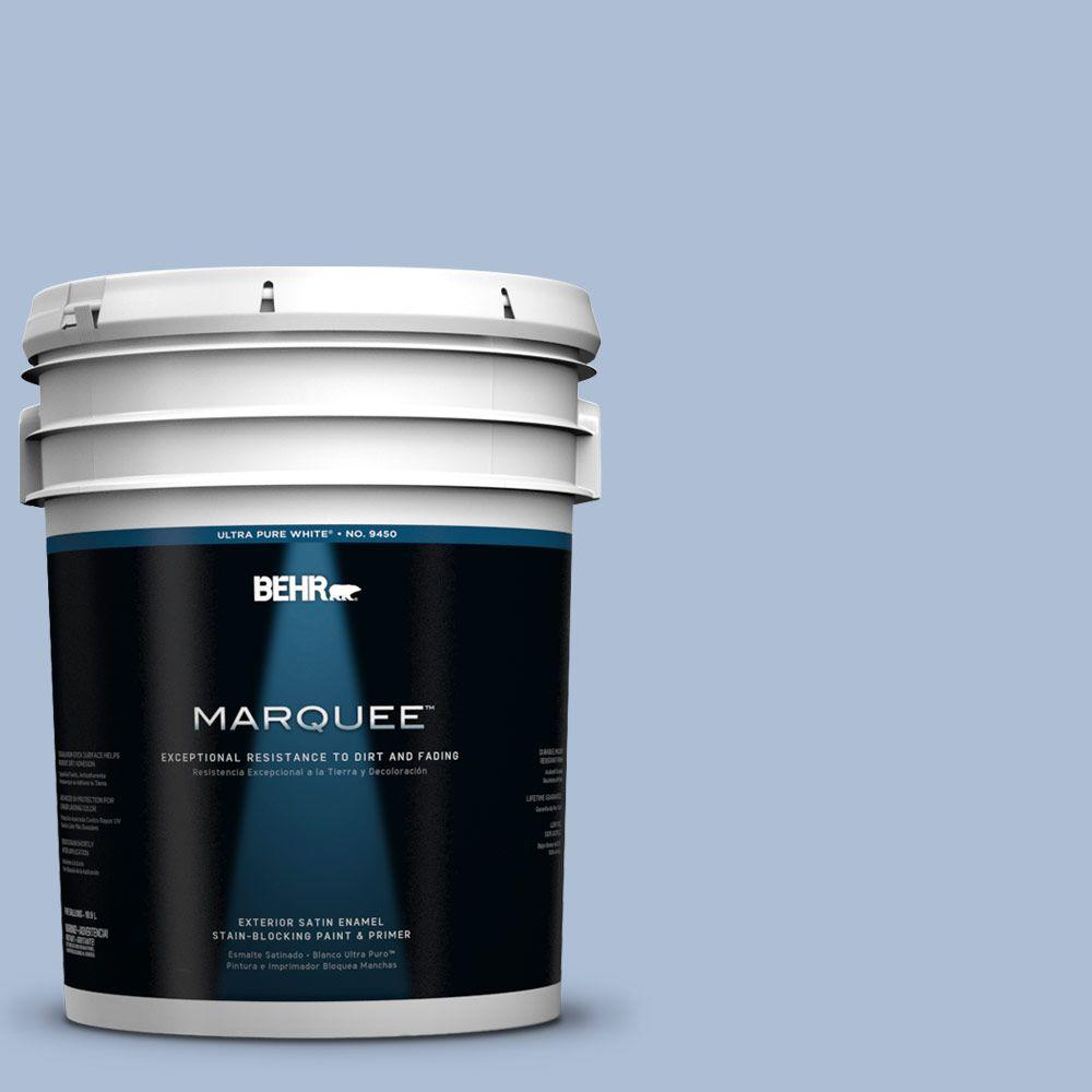 BEHR MARQUEE 5-gal. #580E-3 Sweet Blue Satin Enamel Exterior Paint