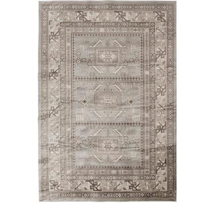 SAMS GOLD IMPORTS Myan Grey and Ivory 3 ft. 2 in. x 4 ft. 6 in. Area Rug, Grey/Ivory