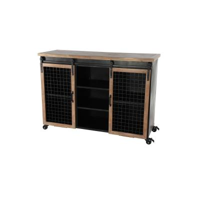 Black Metal and Reclaimed Wood Rolling Cabinet with Sliding Doors