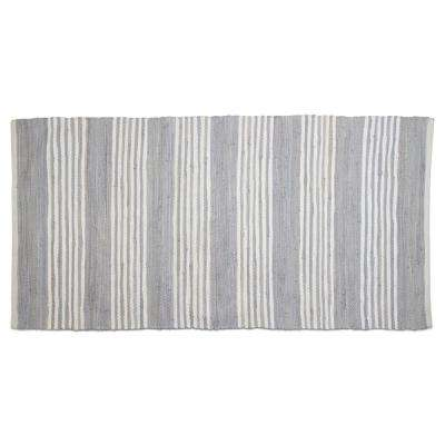 Chindi Stripe Light Blue 2 ft. 6 in. x 5 ft. Cotton Runner