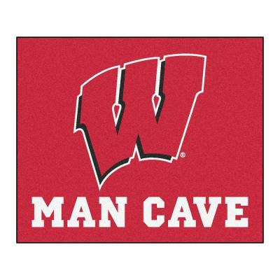 University of Wisconsin Red Man Cave 5 ft. x 6 ft. Area Rug