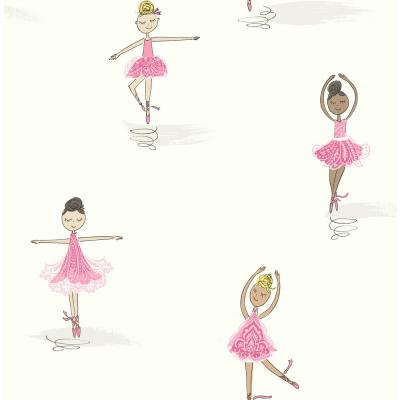 Kids Tiny Dancers Bubblegum and White Ballerina Wallpaper