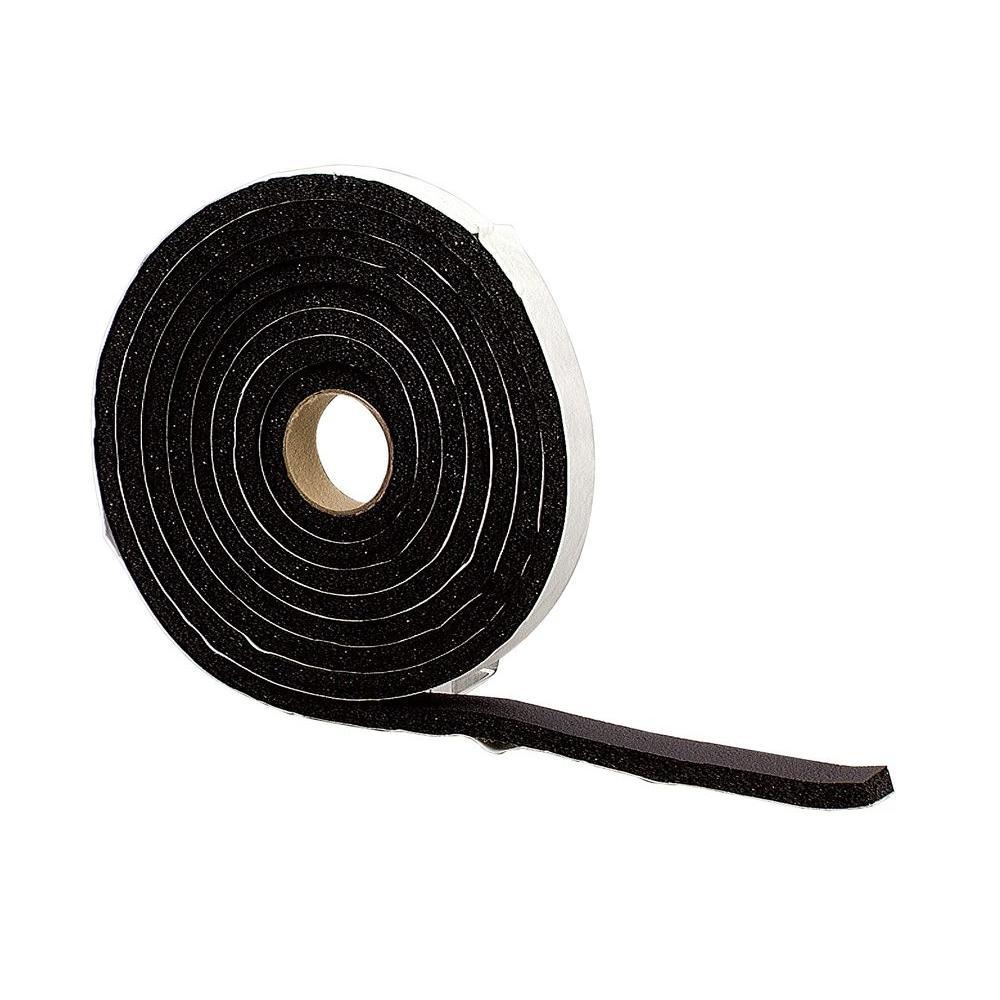 1-1/4 in. x 10 ft. Black Sponge Rubber Foam Weatherstrip Tape