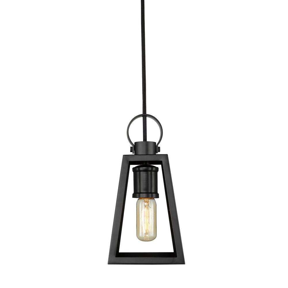 Abbott 1-Light Black Chandelier with Black Mesh Shade