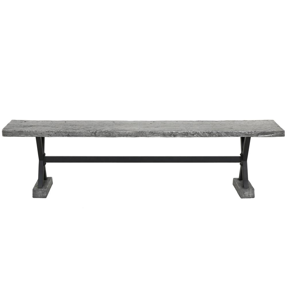Noble House Chalmette Grey Stone Outdoor Bench