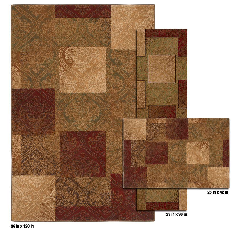 Mohawk Home Eloquence Dark Gold 8 ft. x 10 ft. 3 Piece Rug Set-DISCONTINUED