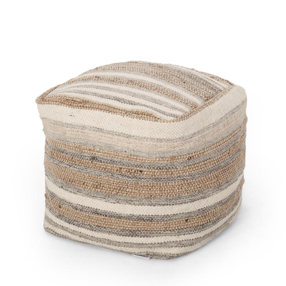 Noble House Harney Natural Ivory And Gray Handmade Cube Pouf 94328 The Home Depot