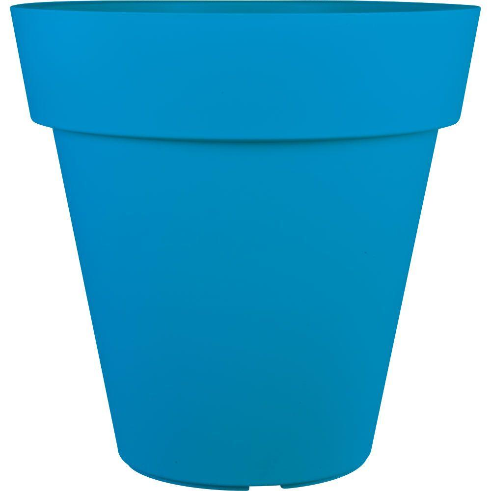 pride garden products mela 24 in. round blue plastic planter-83550