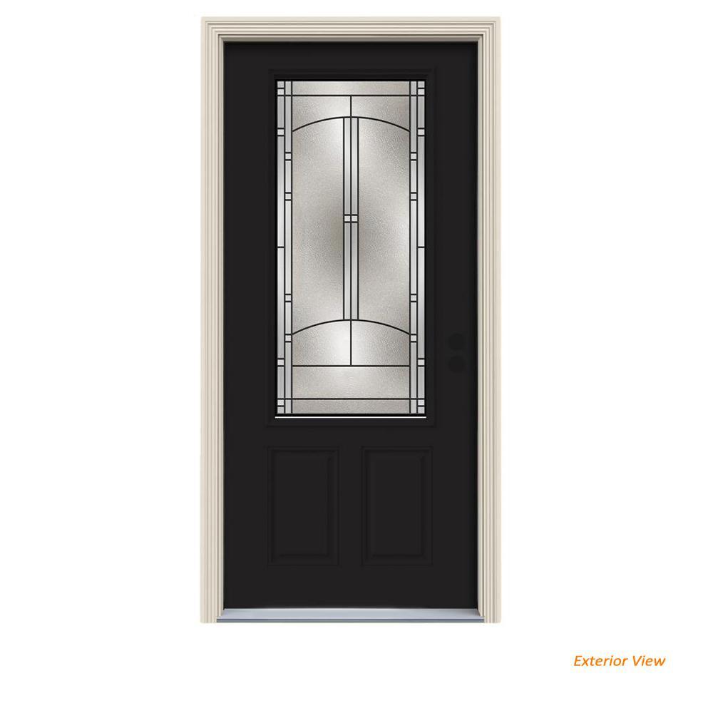 Jeld Wen 32 In X 80 3 4 Lite Idlewild Black W White Interior Steel Prehung Left Hand Inswing Front Door Brickmould Thdjw166700432 The Home Depot