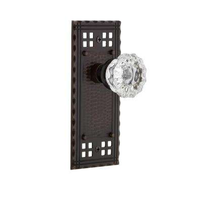 Craftsman Plate Single Dummy Crystal Glass Door Knob in Timeless Bronze