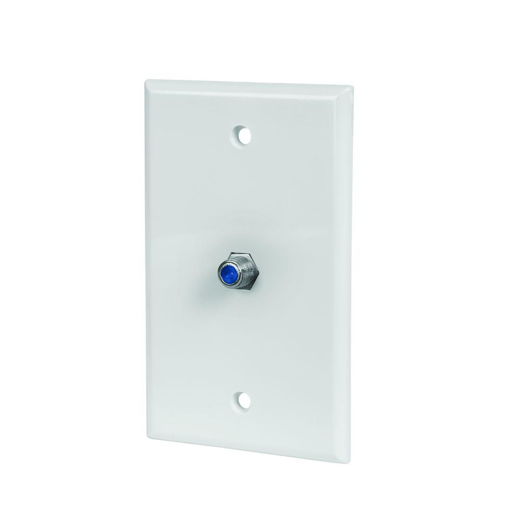 CE TECH Coax Wall Plate - White (5-Pack)