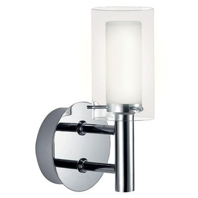 Palermo 4.625 in. W x 7.75 in H. 1-Light Chrome Wall Sconce with Clear and Frosted Glass Shade