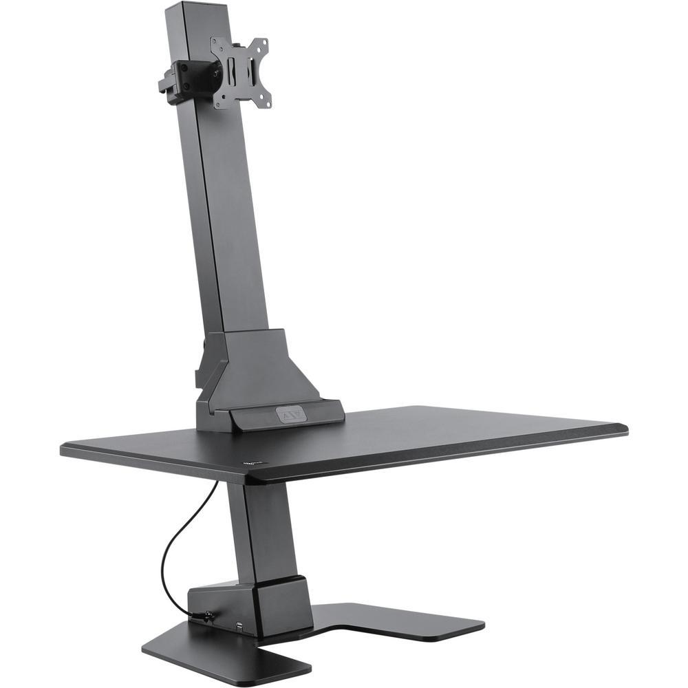Premium Series Black Electric Sit Stand Workstation Single Monitor