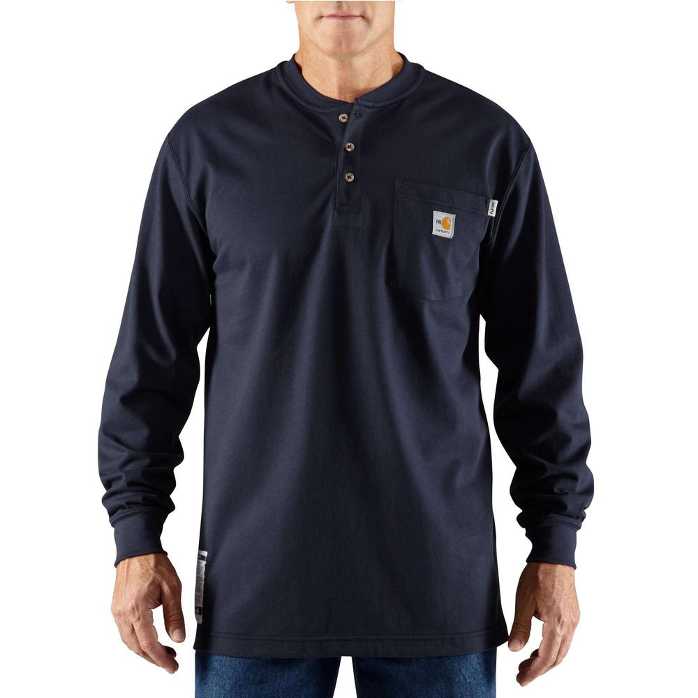 53ad8c860 Carhartt Men's Regular X-Large Dark Navy FR Force Cotton Long Sleeve Henley