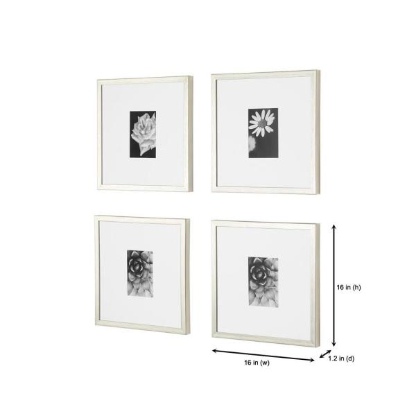 Stylewell Stylewell Silver Frame With White Matte Gallery Wall Picture Frames Set Of 4 H5 Ph 270 The Home Depot
