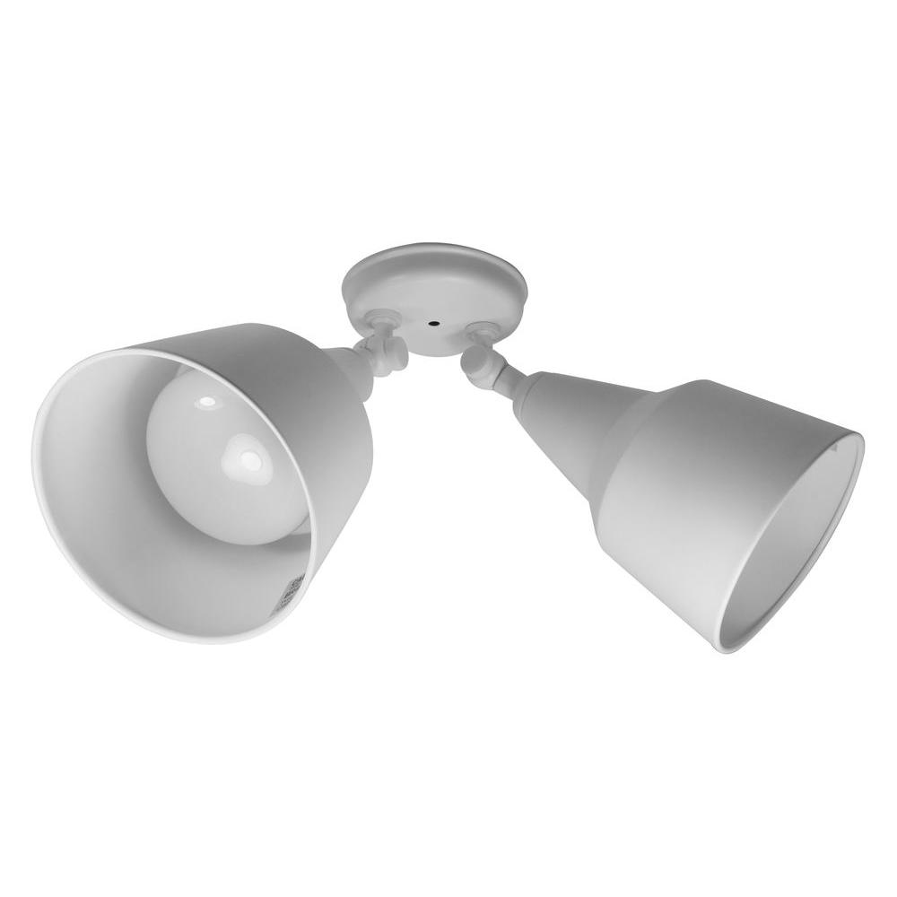 null 2-Light White Double Cone Bullet Fixture
