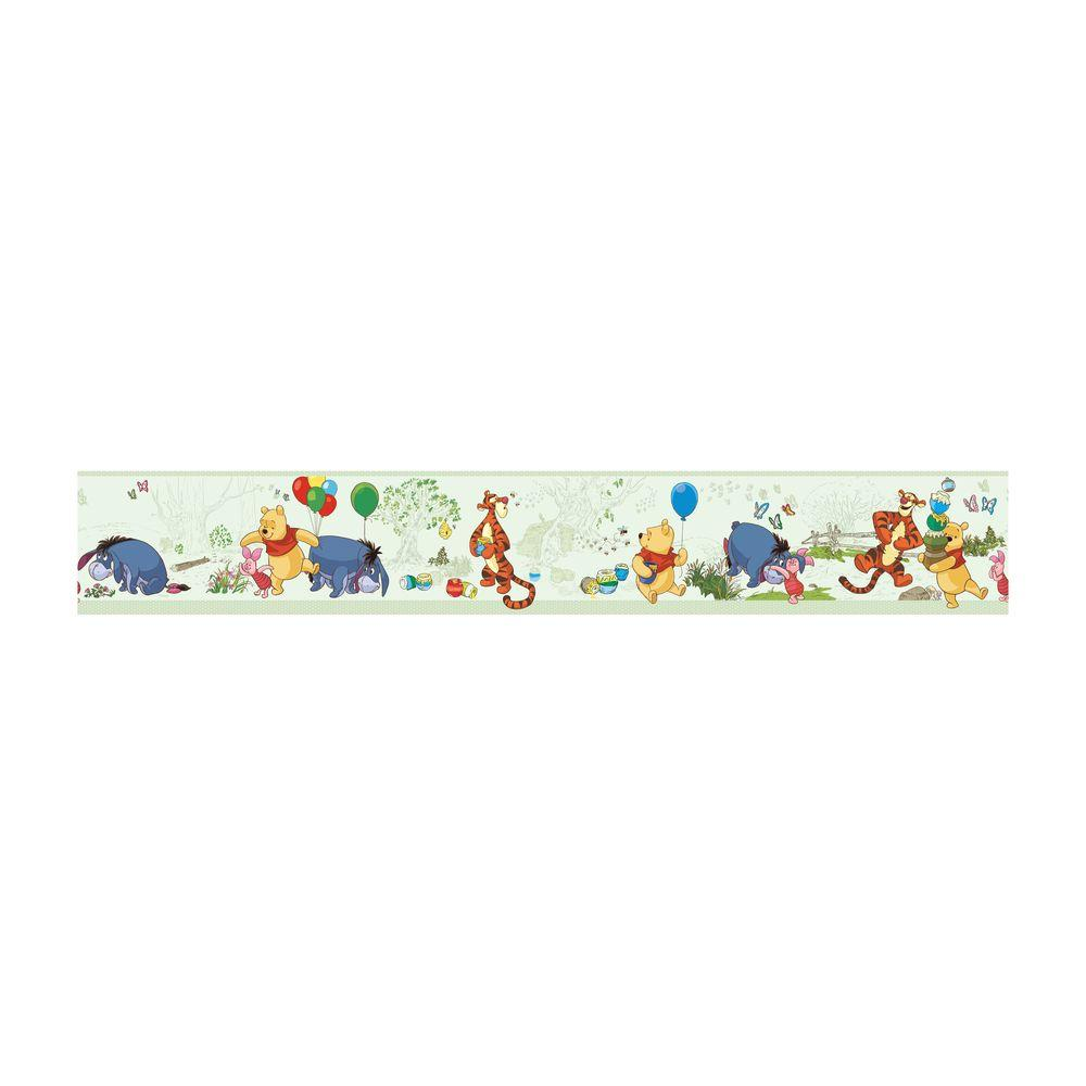 Disney kids pooh and friends wallpaper border green for Wallpaper borders for your home