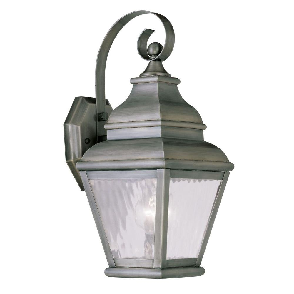 Livex lighting providence wall mount 1 light vintage pewter outdoor incandescent lantern 2601 29 for Exterior wall mounted lanterns