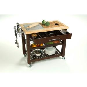 Chris & Chris Pro Chef Natural Kitchen Cart With Storage by Chris & Chris