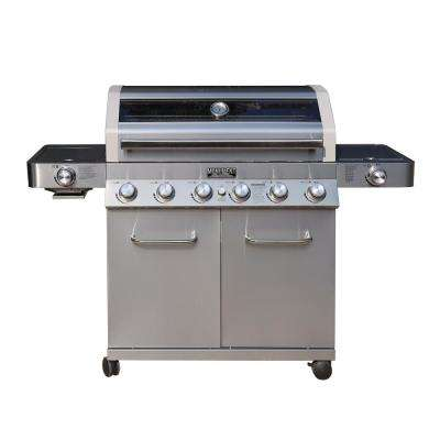 6-Burner Propane Gas Grill in Stainless with ClearView Lid, LED Controls, Smoke Box, Side and Sear Burners