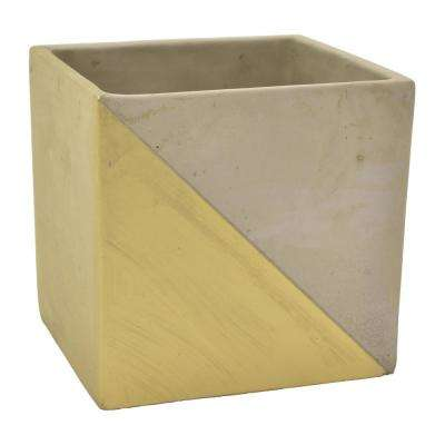 5.5 in. Gray and Gold - Gold Flower Pot