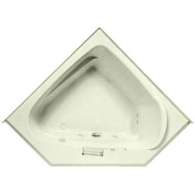 Delphinius 5 ft. Acrylic Left Front Drain Corner Soaking Bathtub in Biscuit