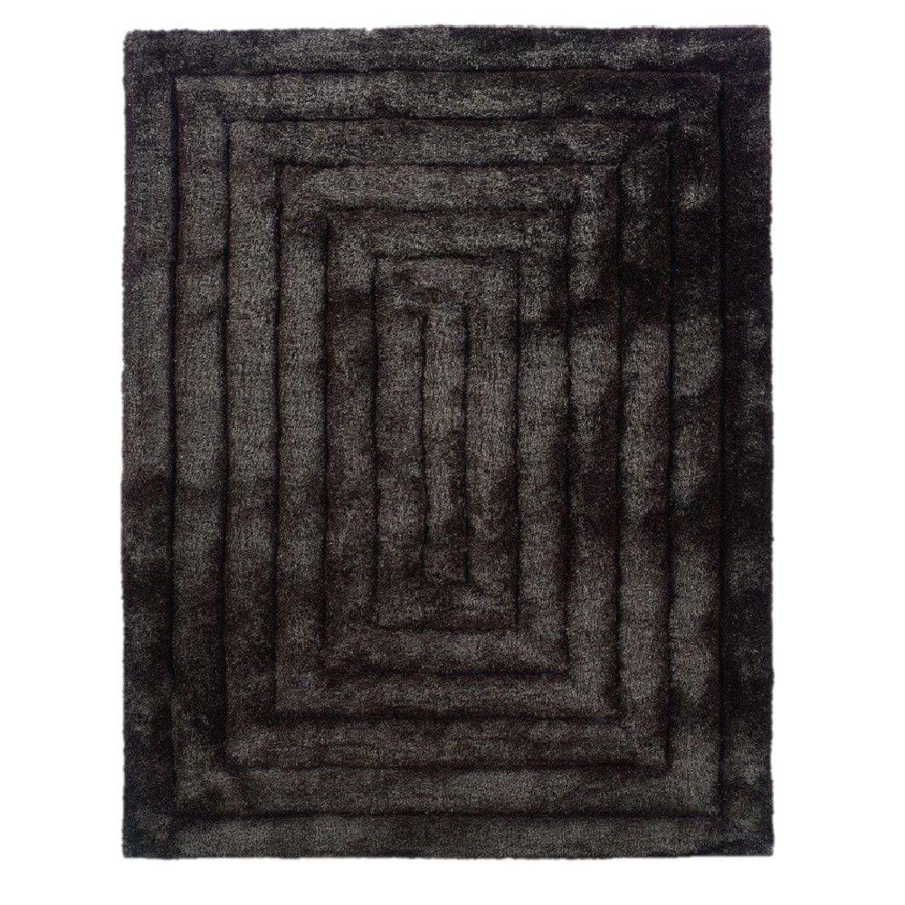 Linon Home Decor Links Collection Squared Charcoal 8 ft. x 10 ft. Indoor Area Rug
