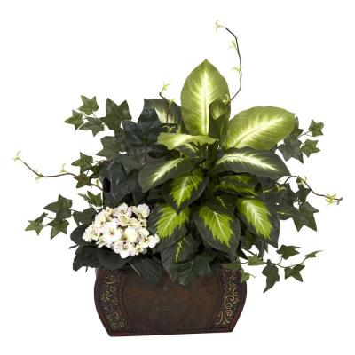 20 in. H Green African Violet, Dieffenbachia and Ivy with Chest Silk Plant