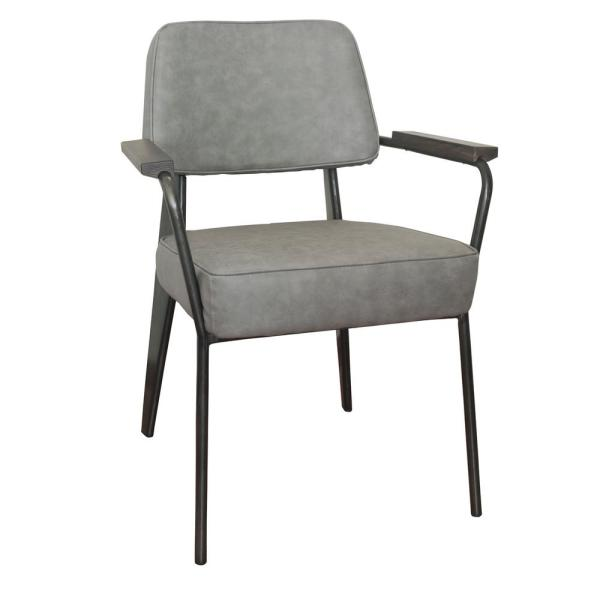 Amerihome Grey Faux Leather Fauteuil Direction Accent Arm