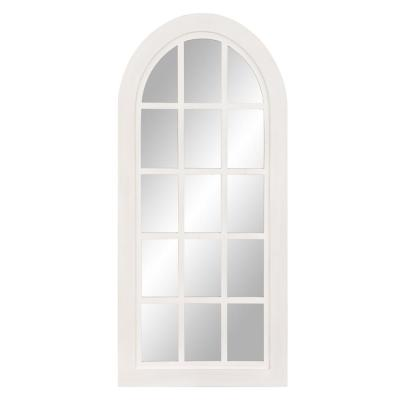 Patton Farmhouse Arch Windowpane White Decorative Mirror