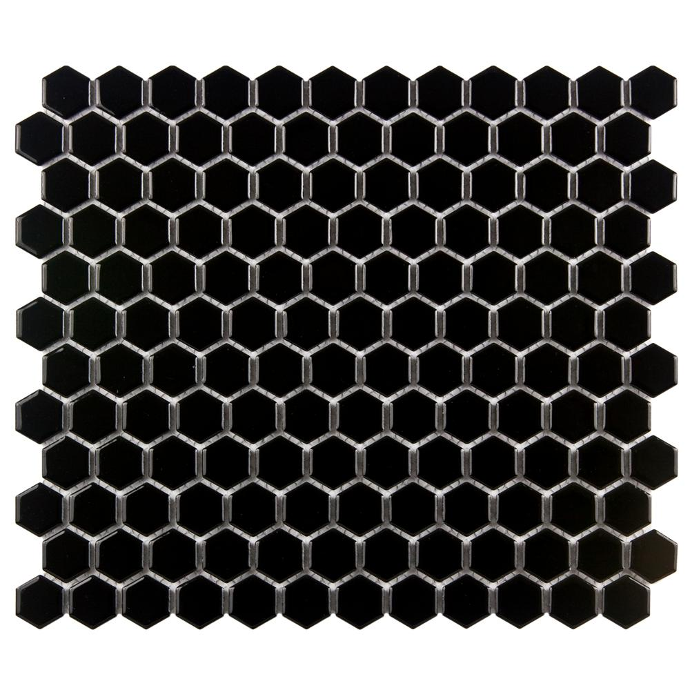 Merola Tile Metro Hex Glossy Black 10-1/4 in. x 11-3/4 in. x 5 mm Porcelain Mosaic Tile (8.56 sq. ft. / case)