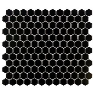 Metro Hex Glossy Black 10-1/4 in. x 11-3/4 in. x 5 mm Porcelain Mosaic Tile (8.56 sq. ft. / case)