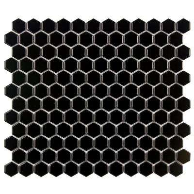 Metro Hex Glossy Black 10-1/4 in. x 11-3/4 in. x 5 mm Porcelain Mosaic Tile (8.54 sq. ft. / case)