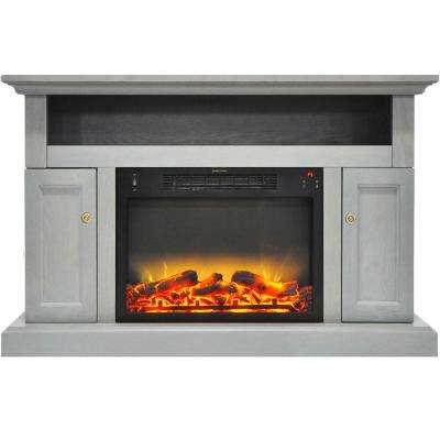 Sorrento Electric Fireplace with an Enhanced Log Display and 47 in. Entertainment Stand in Gray