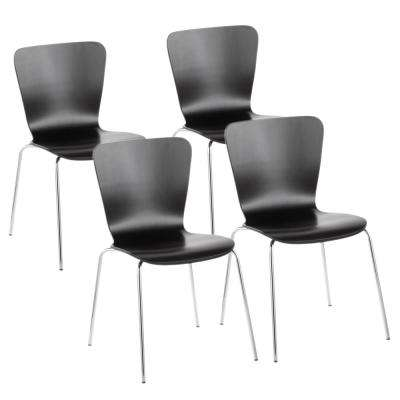 Bentwood Stacker Black And Chrome Contemporary Dining Chair (Set Of 4)