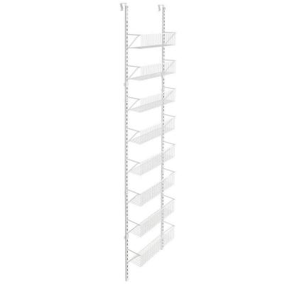 18 in. x 77.5 in. 8-Compartment Over-the-Door Adjustable Basket Organizer in White