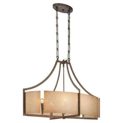 Clarte 6-Light Patina Iron Oval Chandelier with Deep Spumante Lace Glass Shade
