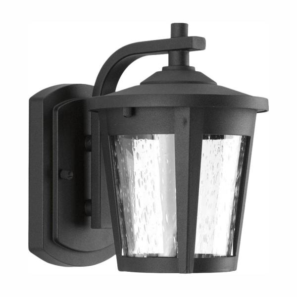 East Haven Collection 1-Light 7.9 in. Outdoor Black LED Wall Lantern Sconce