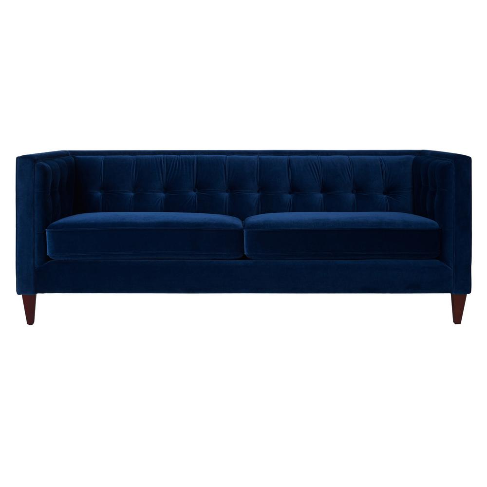 Jack 84 in. Navy Blue Velvet 3-Seater Tuxedo Sofa with Removable Cushions
