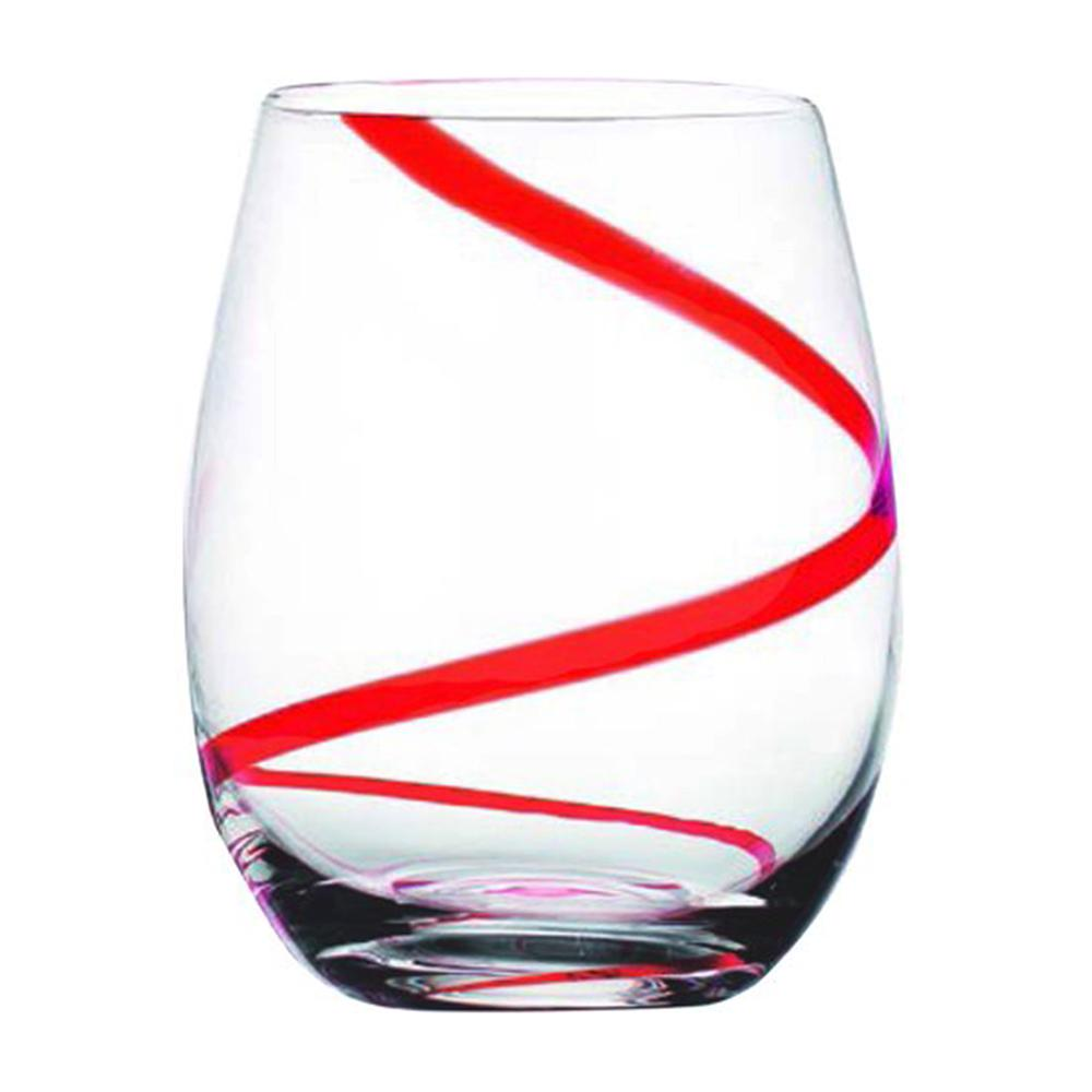 597da169dd3 HOME ESSENTIALS & BEYOND 18 fl. oz. Swirl Stemless Wine Glasses (4-Pack)  5729 - The Home Depot
