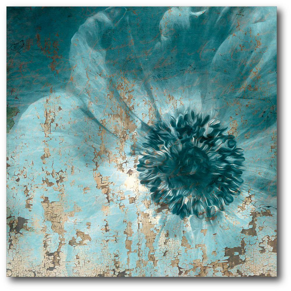 Teal flower wrapped canvas canvas wall art