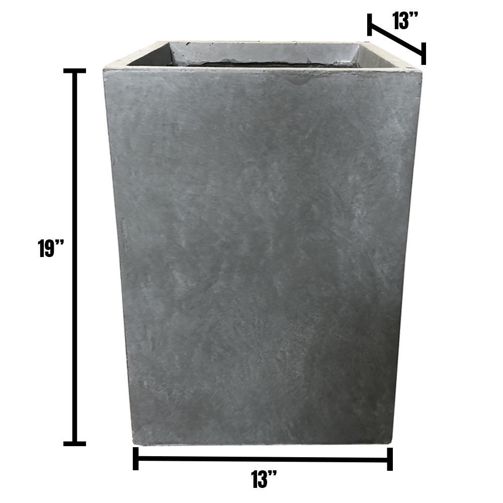 DurX-litecrete Large 13 in. x 13 in. x 18.5 in. Cement Lightweight Concrete Tall Square Planter