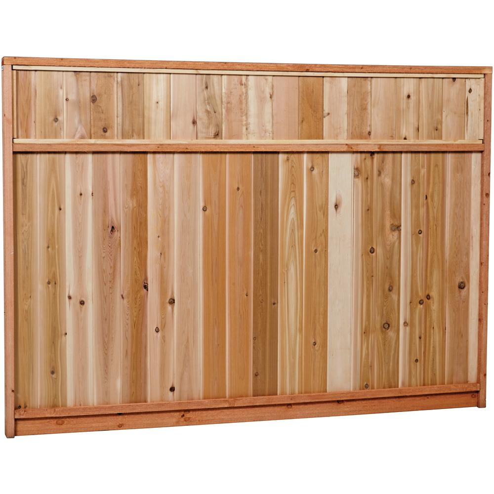 6 Ft X 8 Ft Premium Cedar Solid Top Fence Panel With Stained Spf Frame Actual Size 68 3 8 In H X 96 In W 6x8stp The Home Depot
